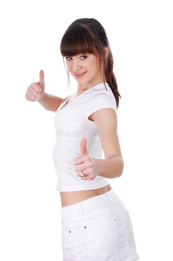 Een charmant jong meisje in een witte T-shirt stock fotografie