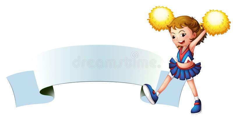 Een cheerleader met gele pompoms vector illustratie