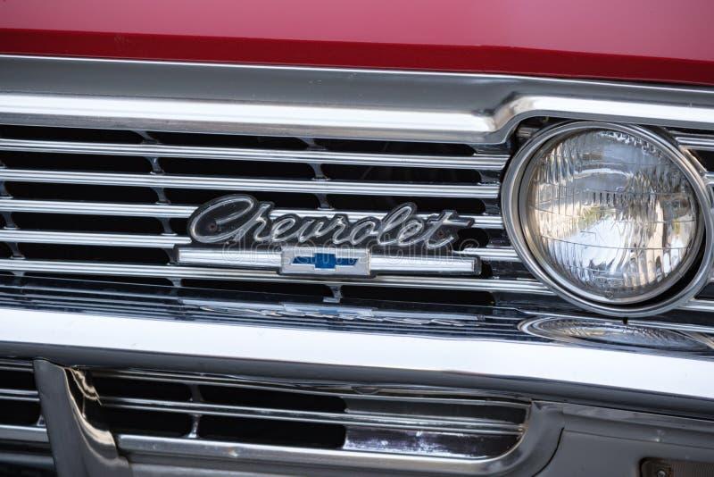Een Chevrolet-auto in Vaduz wordt geparkeerd die stock afbeelding