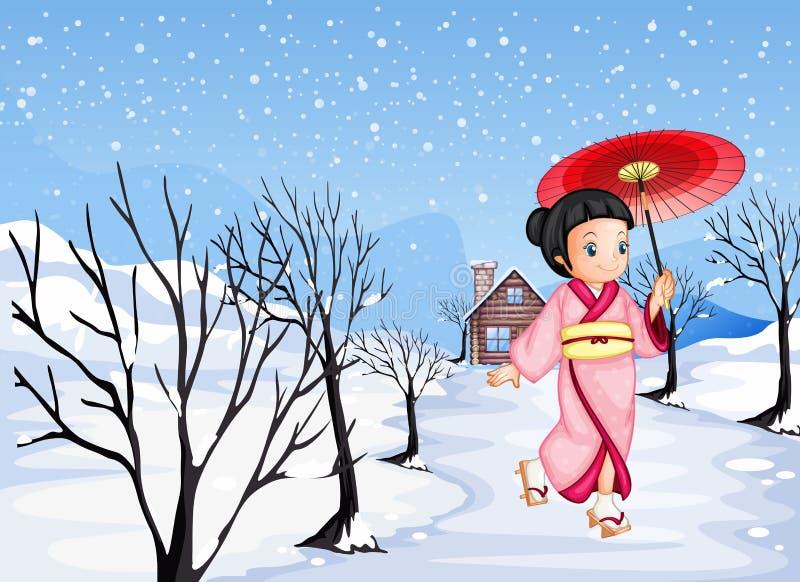 Een Chinees meisje die een paraplu houden buiten lopend met sneeuw vector illustratie