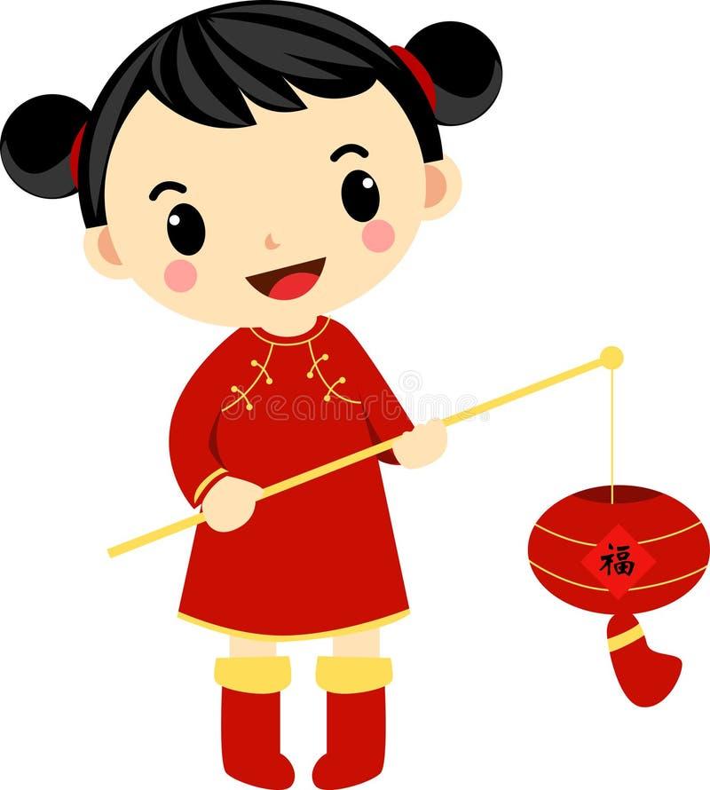 Een Chinees meisje en haar mooie lantaarn stock illustratie