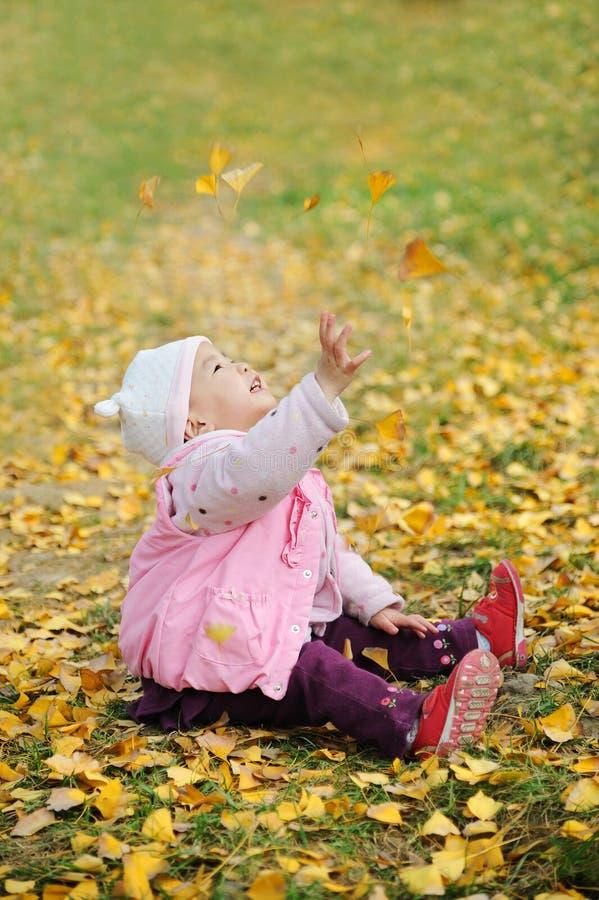 Een Chinese baby in de herfst royalty-vrije stock afbeelding