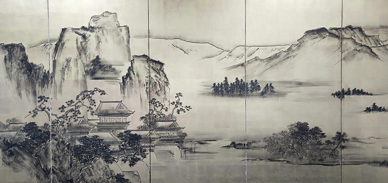 Een Chinese het Schilderen Bergrivier en een Boot stock afbeelding