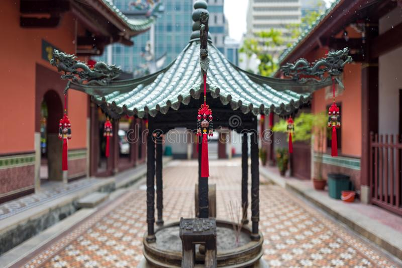 Een Chinese tempel in Singapore stock fotografie