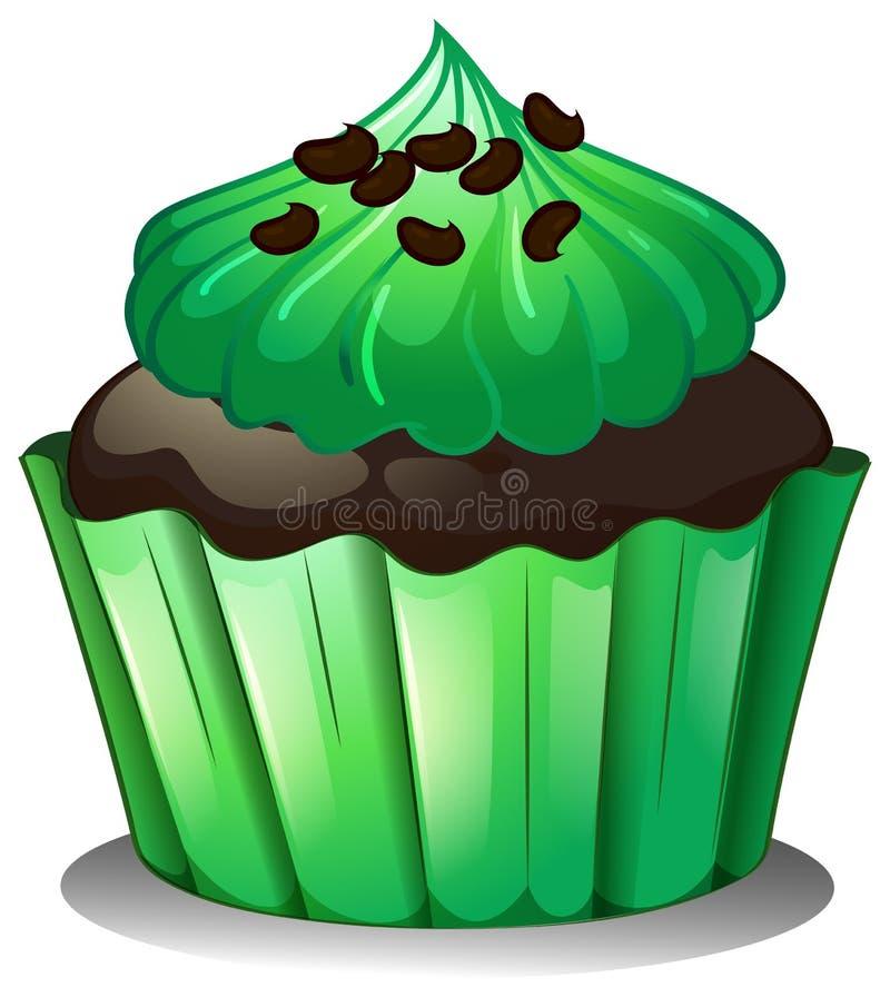 Een chocolade cupcake met groene bovenste laagjes stock illustratie
