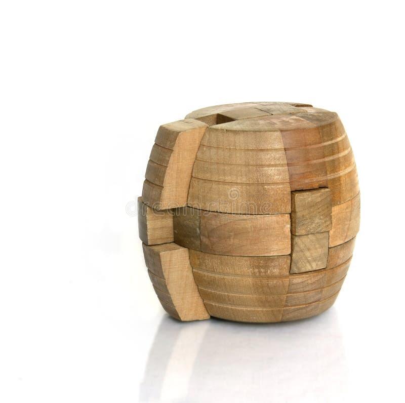 Een cilindrisch houten raadsel royalty-vrije stock fotografie