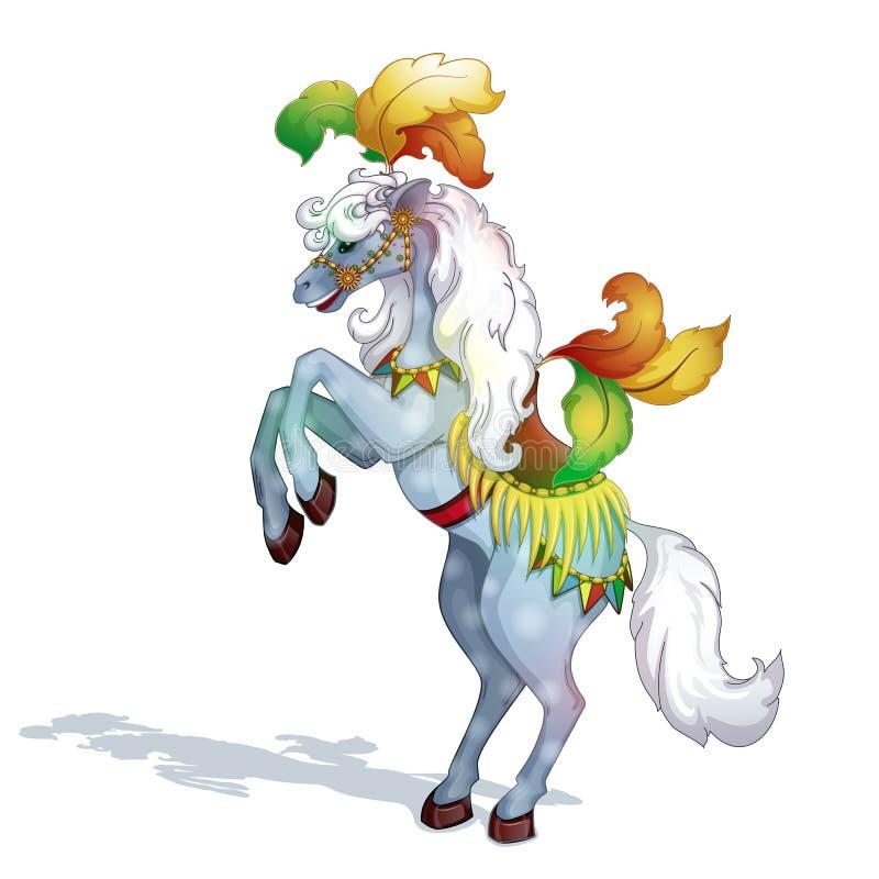 Een circuspaard, met prachtige veren en een mooi zadel wordt versierd dat stock afbeelding