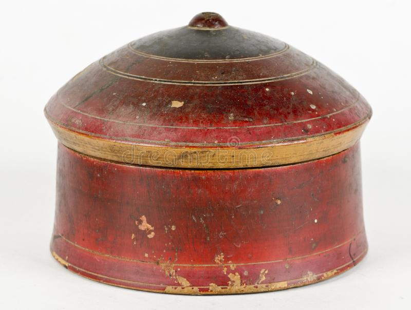 Een cirkel ronde houten doos royalty-vrije stock fotografie