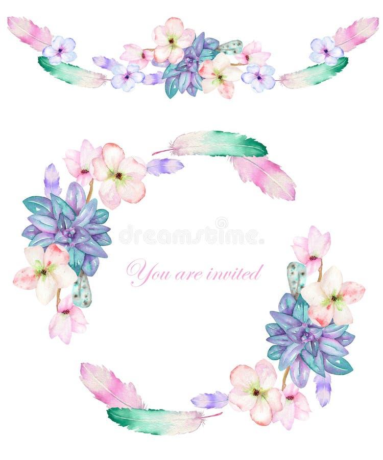 Een cirkelkader, een kroon en een kadergrens met de waterverf bloeien, veren en succulents, huwelijksuitnodiging stock illustratie