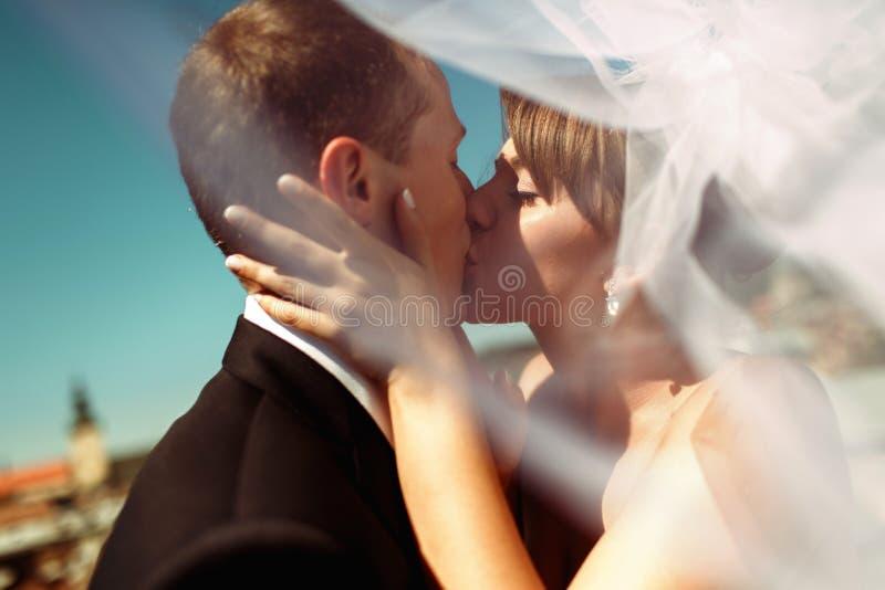 Een close-up van een bruid die een bruidegom in de voorzijde van Lemberg ` s r kussen stock afbeeldingen