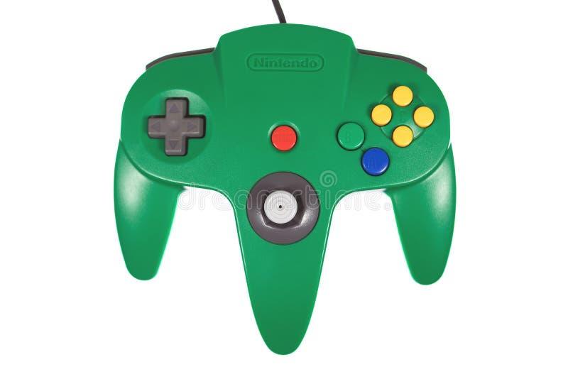 Een Close-up van Groen Nintendo 64 Videospelletjecontrolemechanisme stock fotografie