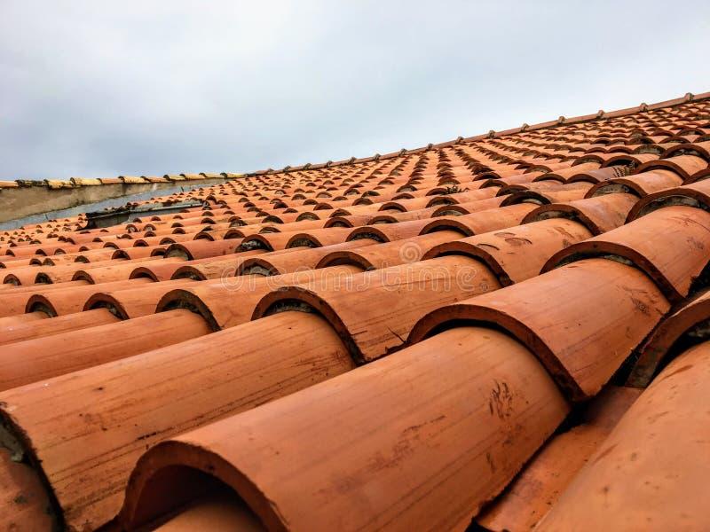Een close-up van oranje cay betegelde dak in Dubrovnik, Kroatië stock afbeeldingen