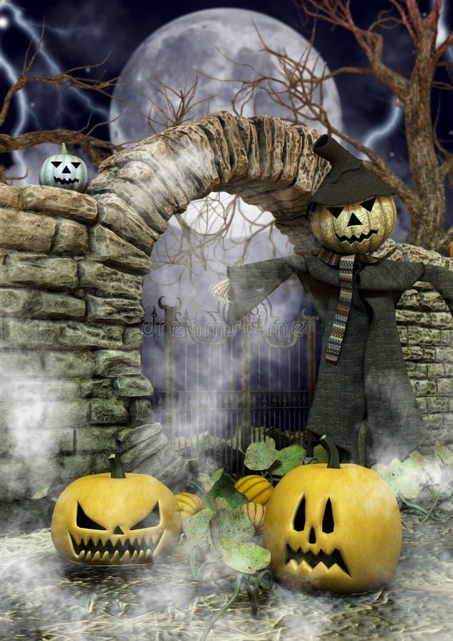 Een close-upportret van een vogelverschrikker met een Halloween-pompoenhoofd in een enge plaats vector illustratie