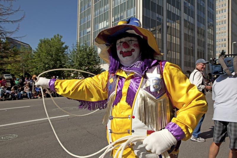 Een clown in Calgary, Canada stock foto