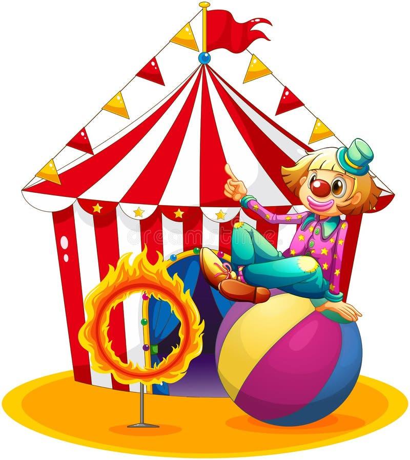 Een clownzitting boven een bal naast een ring van brand voor stock illustratie