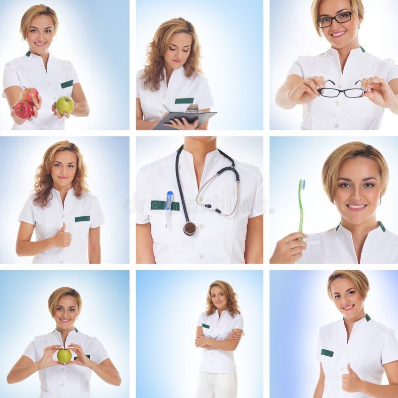Een collage van beelden met jonge vrouwelijke artsen royalty-vrije stock afbeeldingen