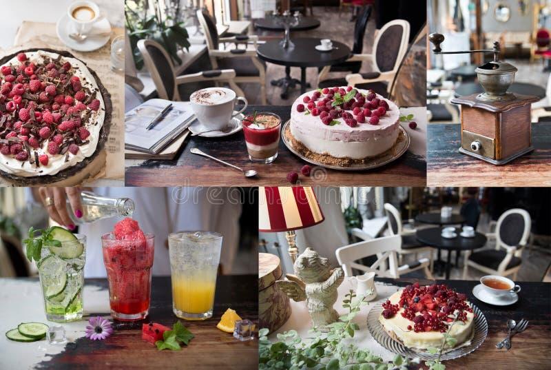 Een collage van foto's van culinair, koffie, restaurant, dranken, cakes, snoepjes Uitstekende stijl en retro stock afbeeldingen
