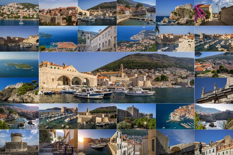 Een collage van foto's van de stad van Dubrovnik Kroati? royalty-vrije stock afbeeldingen