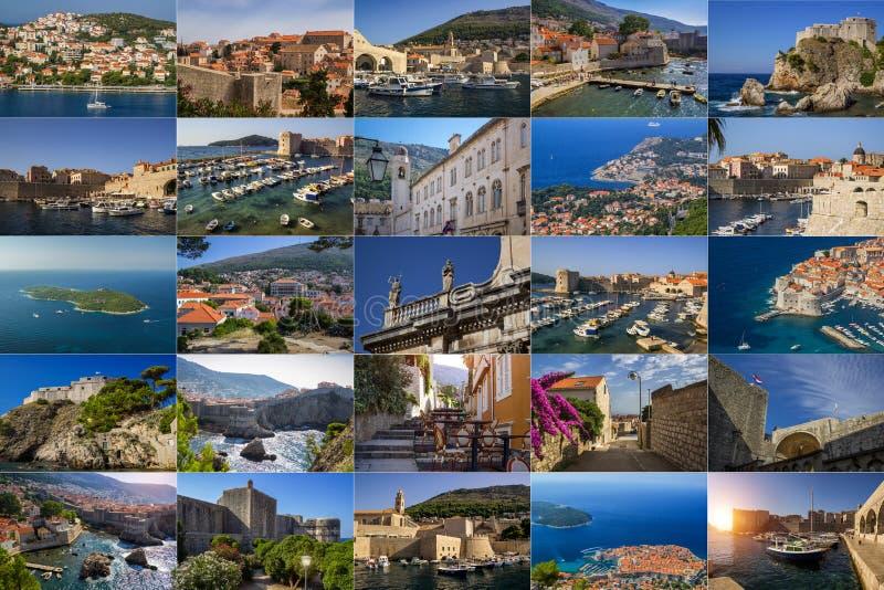 Een collage van foto's van de stad van Dubrovnik Kroati? royalty-vrije stock afbeelding