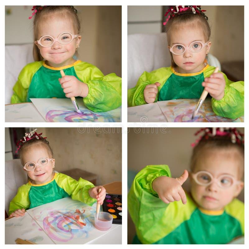Een collage van foto's van het meisje met Benedensyndroom, dat verven trekt royalty-vrije stock afbeelding
