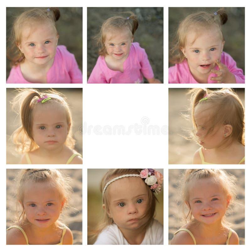 Een collage van foto's van het meisje met Benedensyndroom op het strand royalty-vrije stock afbeelding