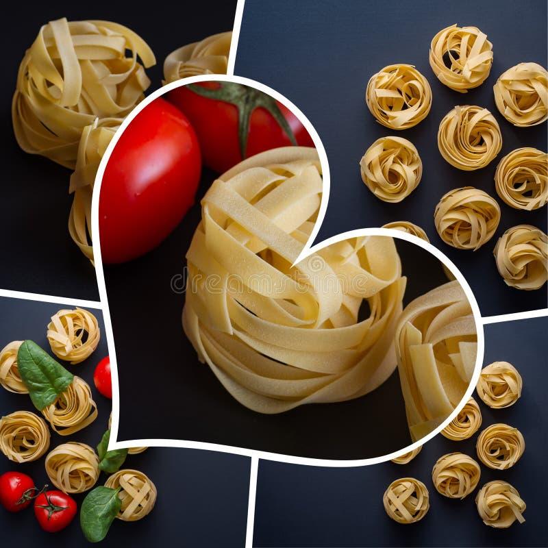 Een collage van foto's van Italiaanse deegwaren Fettuccianoedels en groenten Het blad van de foto collage stock fotografie