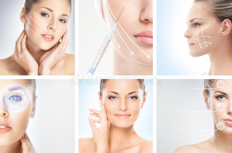 Een collage van jonge vrouwen in make-up stock afbeeldingen