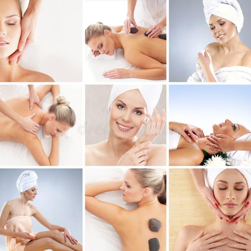 Een collage van jonge vrouwen na het nemen van een bad stock afbeelding