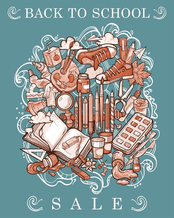 Een collage van vele elementen voor wat betreft terug naar School vector illustratie