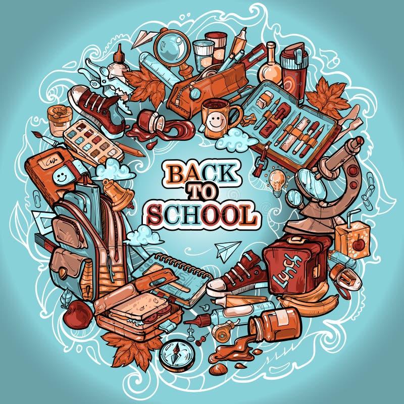 Een collage van vele elementen voor wat betreft terug naar School royalty-vrije illustratie
