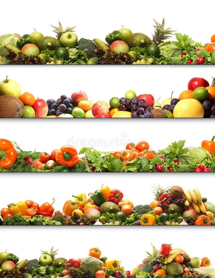 Een collage van verse en smakelijke vruchten en groenten royalty-vrije stock afbeeldingen