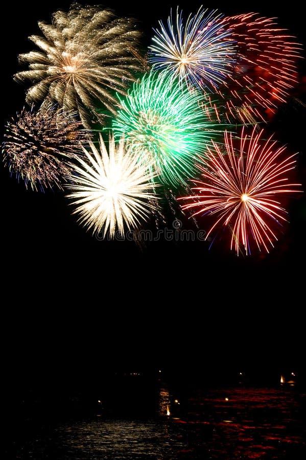 Een collage van vuurwerk stock afbeelding