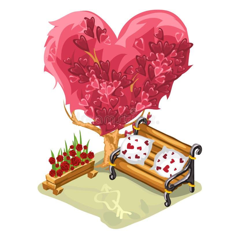 Een comfortabele bank voor data en romantische vergaderingen onder de boom met een roze die kroon in de vorm van een hart op wit  stock illustratie