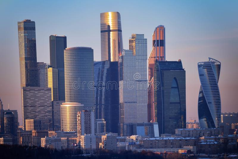 Een commercieel en commercieel centrum, Moskou - Stad stock fotografie