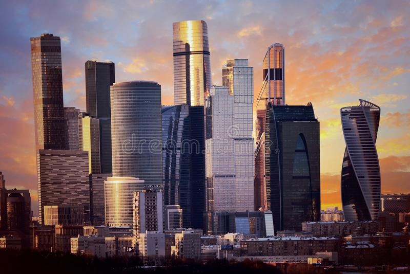 Een commercieel en commercieel centrum, Moskou - Stad royalty-vrije stock afbeelding