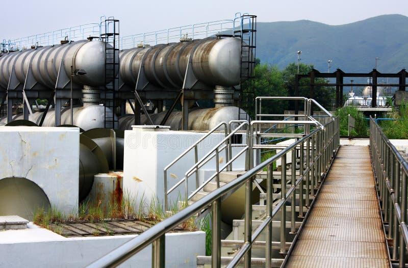 Een complexe deel van raffinaderij stock foto's