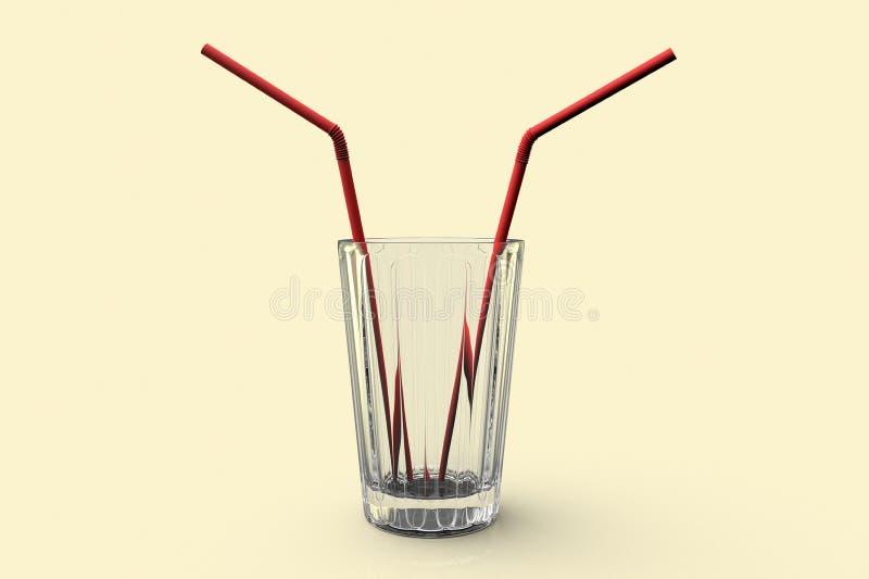 Een conceptueel beeld van een glas met twee stro vector illustratie