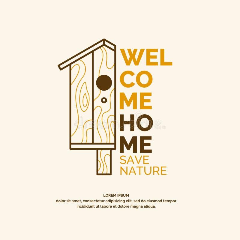 Een conceptuele affiche met een beeld van het vogelhuis stock illustratie
