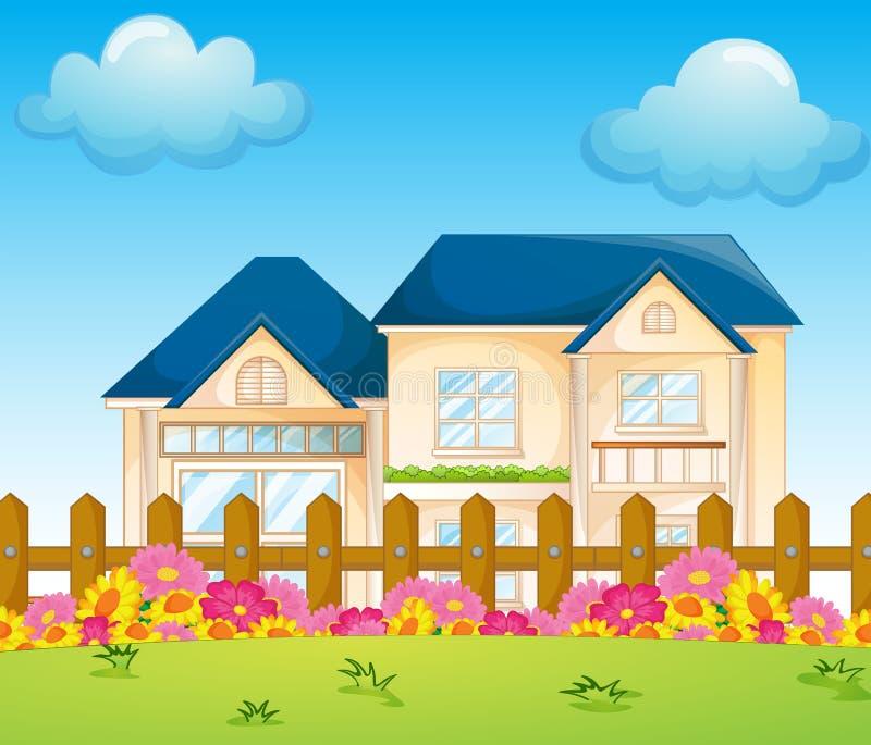Een concreet huis binnen de omheining vector illustratie