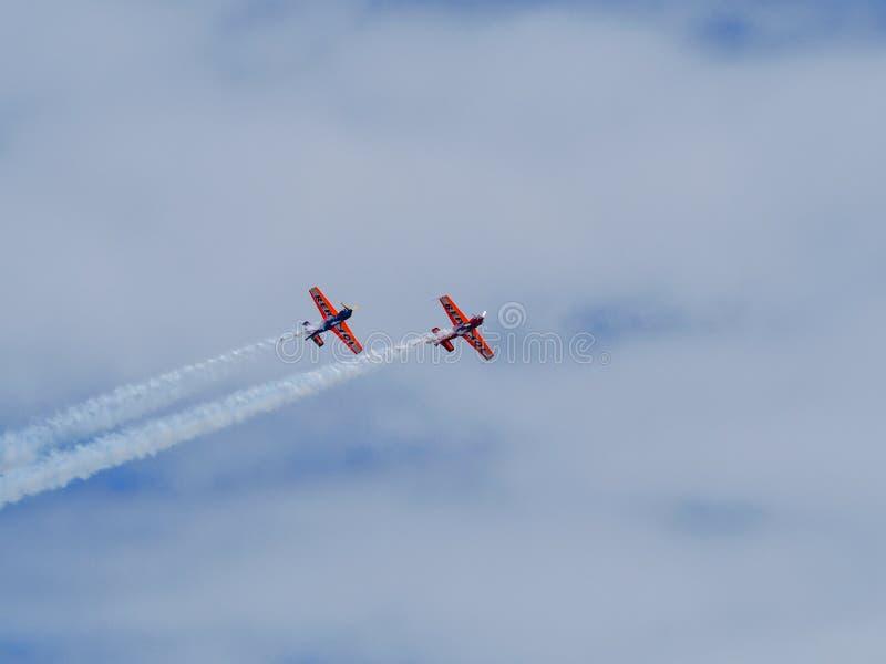 Een Coruna - Spanje - Aerobatic tonen royalty-vrije stock foto