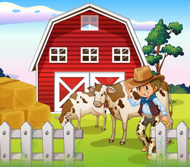 Een cowboy binnen het landbouwbedrijf met koeien en een barnhouse vector illustratie