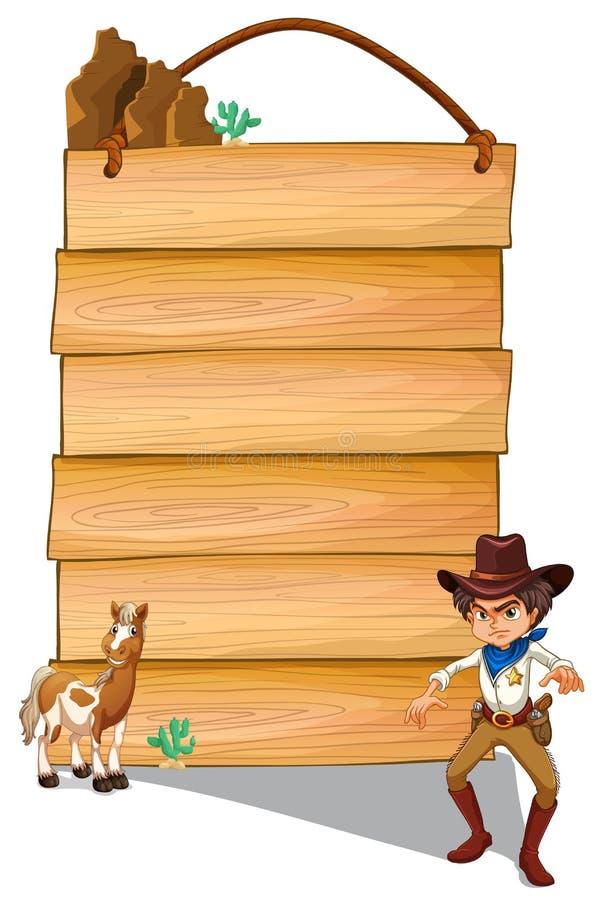Een cowboy en een ezel voor de lege uithangborden stock illustratie