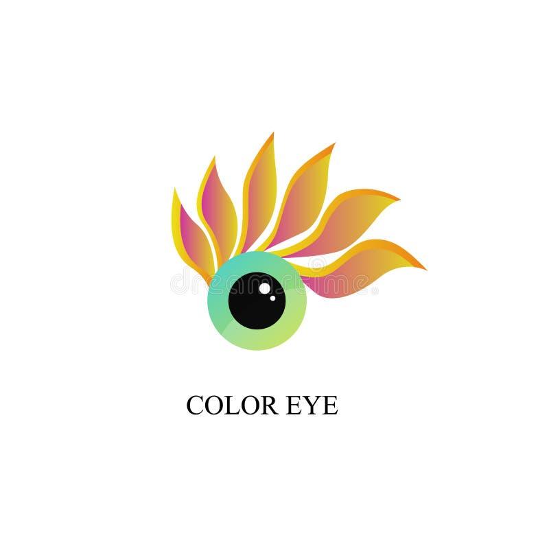 Een creatief embleem Gekleurd oog Wimpers - bloemblaadjes royalty-vrije illustratie