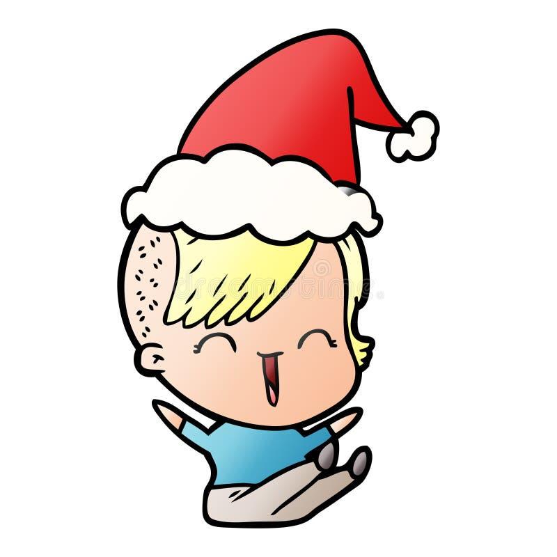 Een creatieve gradiënt cartoon van een gelukkig hipster meisje met een kersthoed stock illustratie