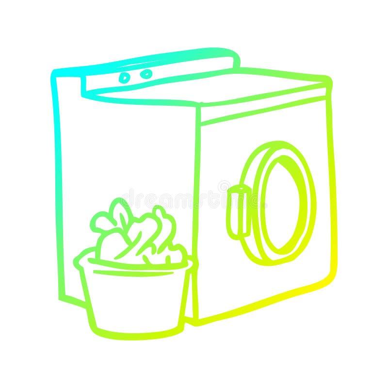 Een creatieve wasmachine met koude gradiënt en wasgoed royalty-vrije illustratie