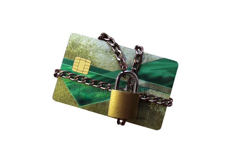 Een creditcard wordt gesponnen door een ketting en door het kasteel gesloten royalty-vrije stock foto's