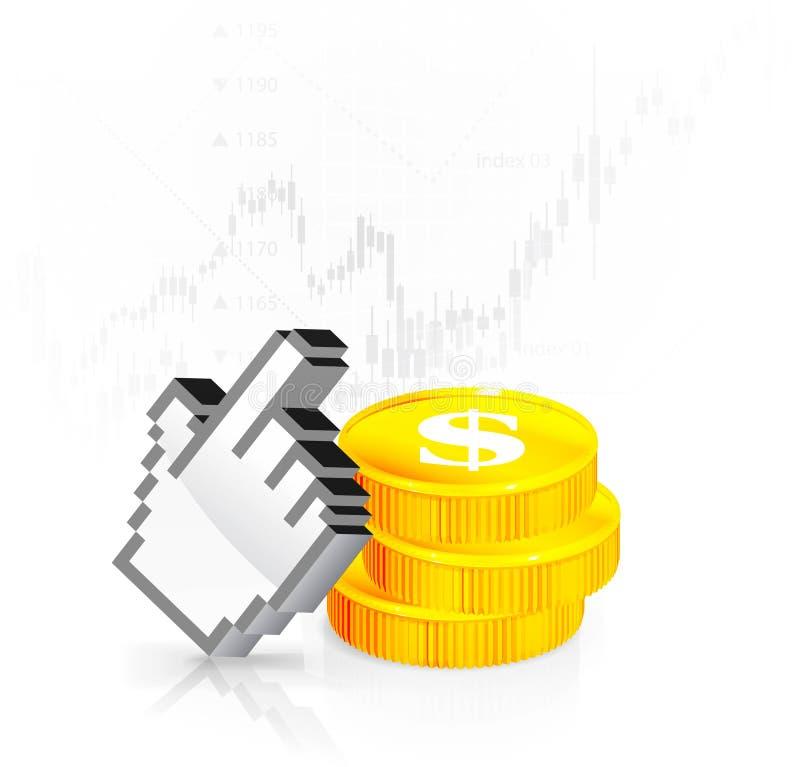 Een curseur met de muntstukken vector illustratie