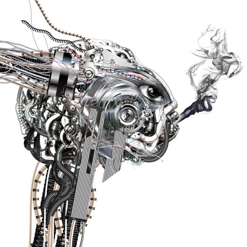 Een cyborg rookt vector illustratie