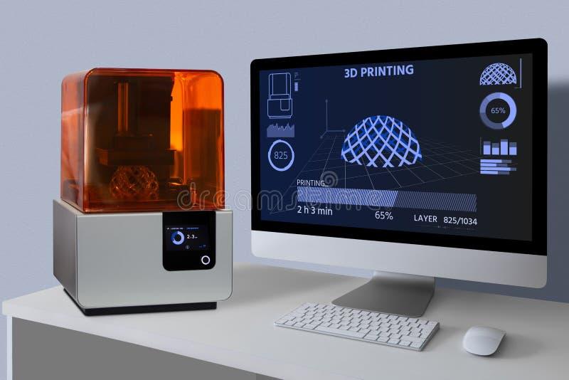 Een 3d printer in het laboratorium stock fotografie