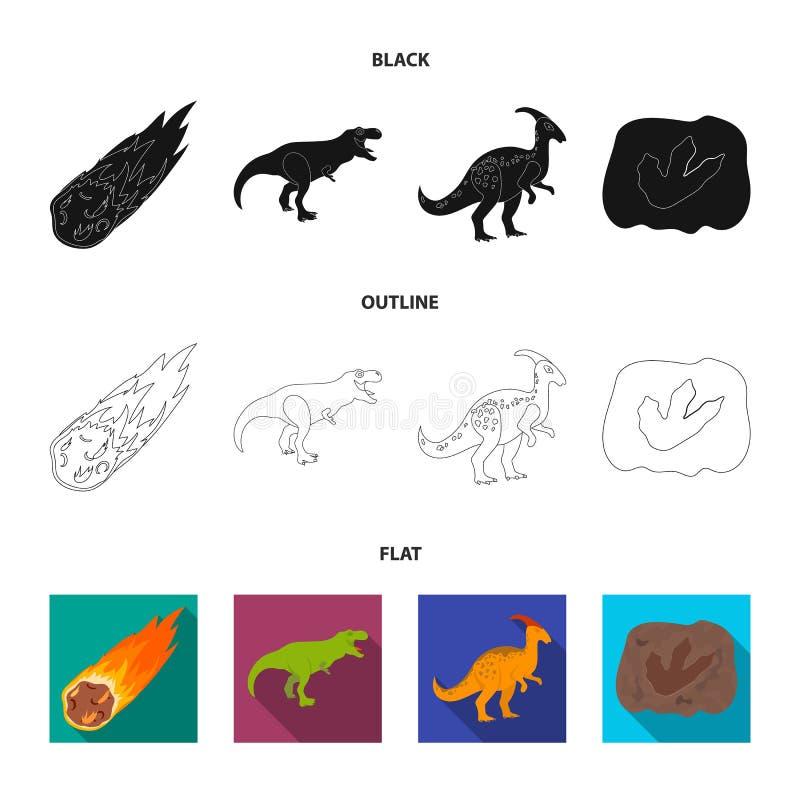 Een dalende meteoriet, parasaurolophus, tyrannosaurus, een afdruk van een dinosaurusvoet De dinosaurus en de voorhistorische peri stock illustratie